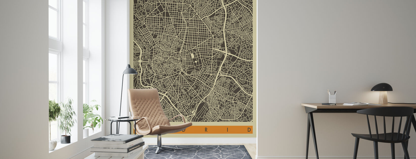 City Map - Madrid - Wallpaper - Living Room