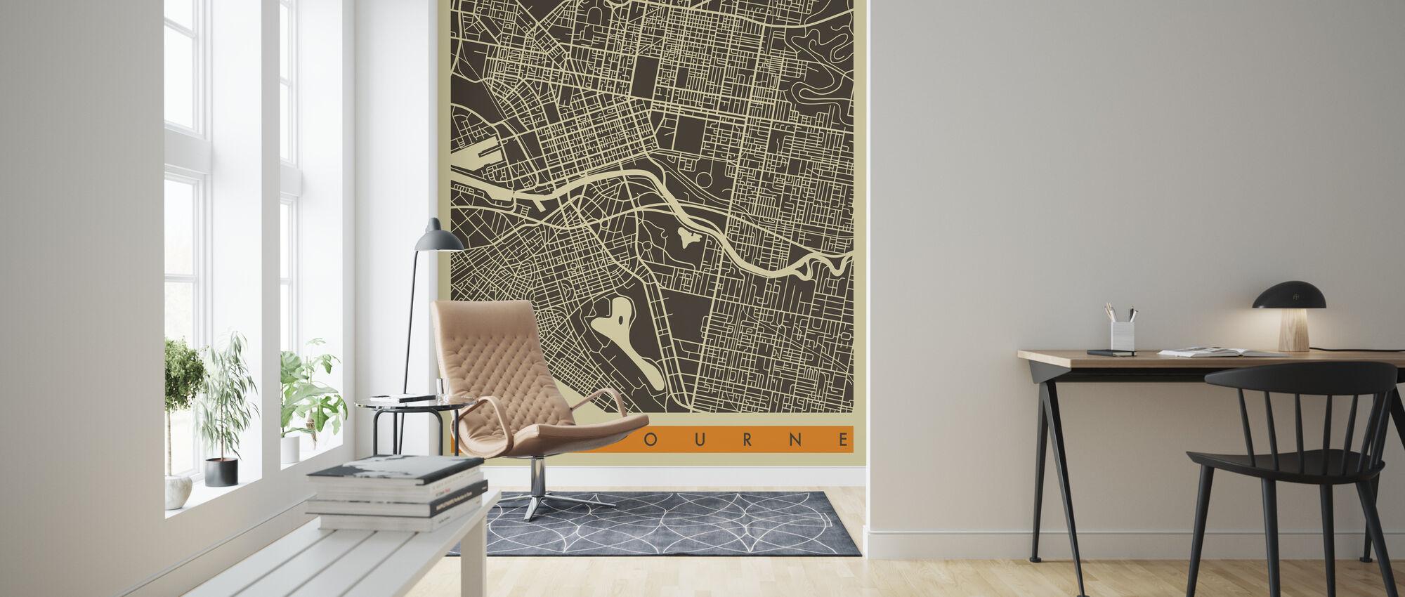 City Map - Melbourne - Wallpaper - Living Room