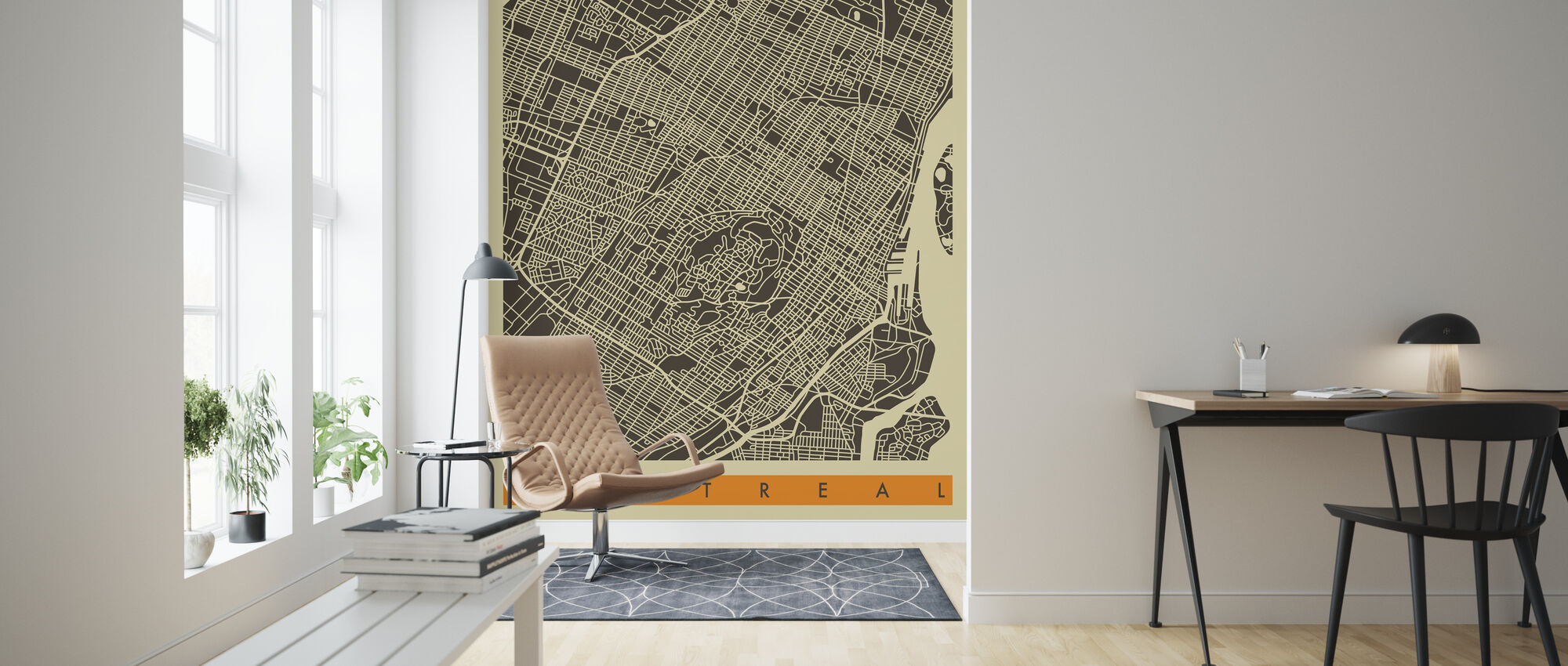 City Map - Montreal - Wallpaper - Living Room