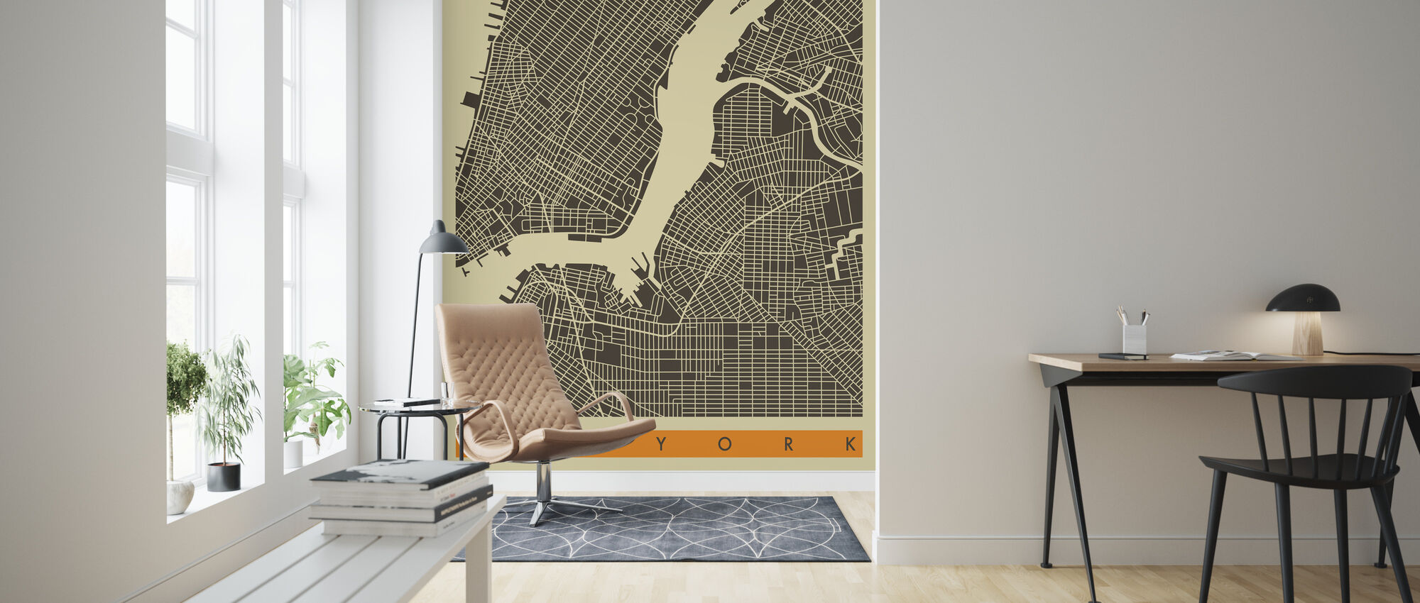 City Map - New York - Wallpaper - Living Room