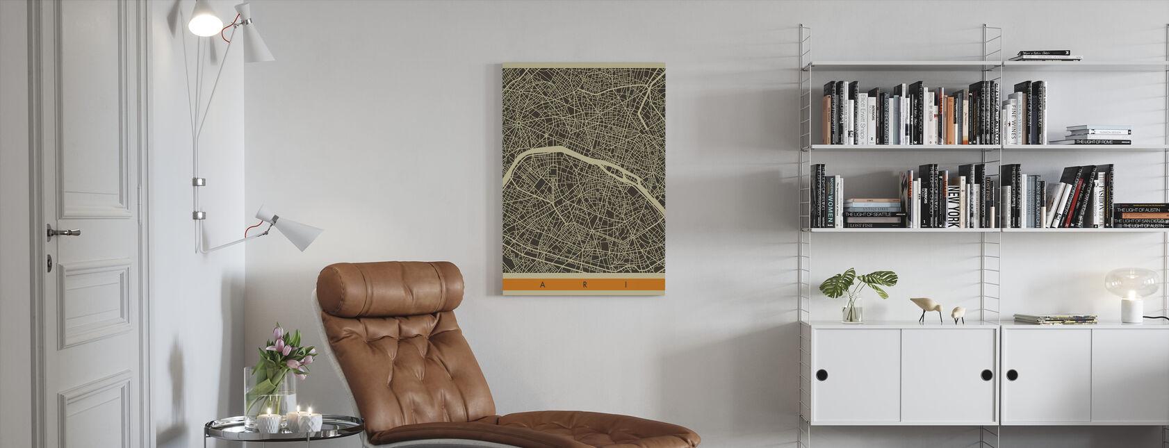 Bykort - Paris - Billede på lærred - Stue