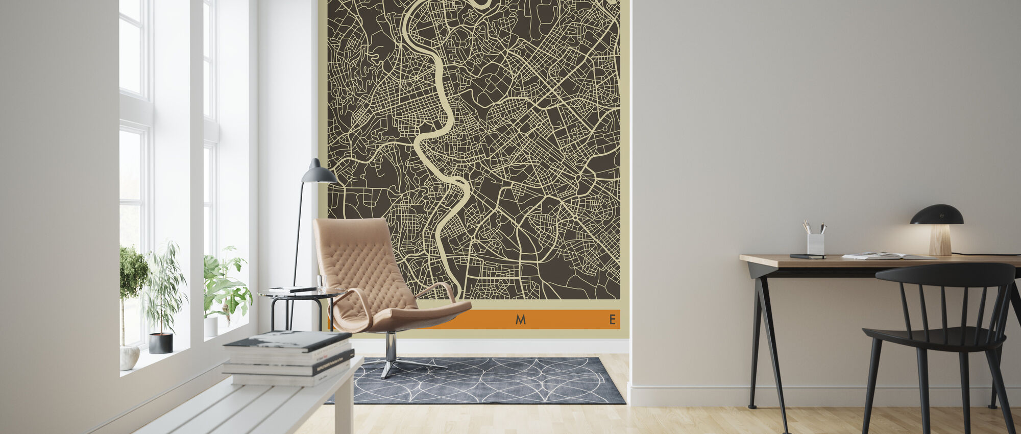 City Map - Rome - Wallpaper - Living Room