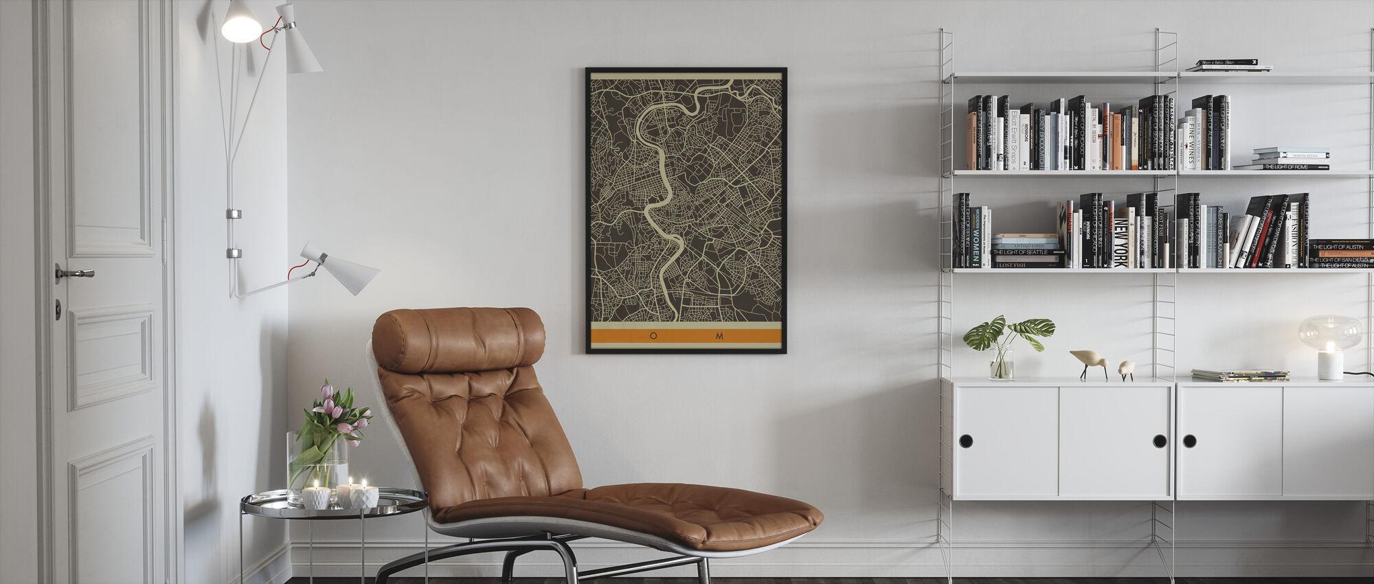 Kaupungin kartta - Rooma - Kehystetty kuva - Olohuone