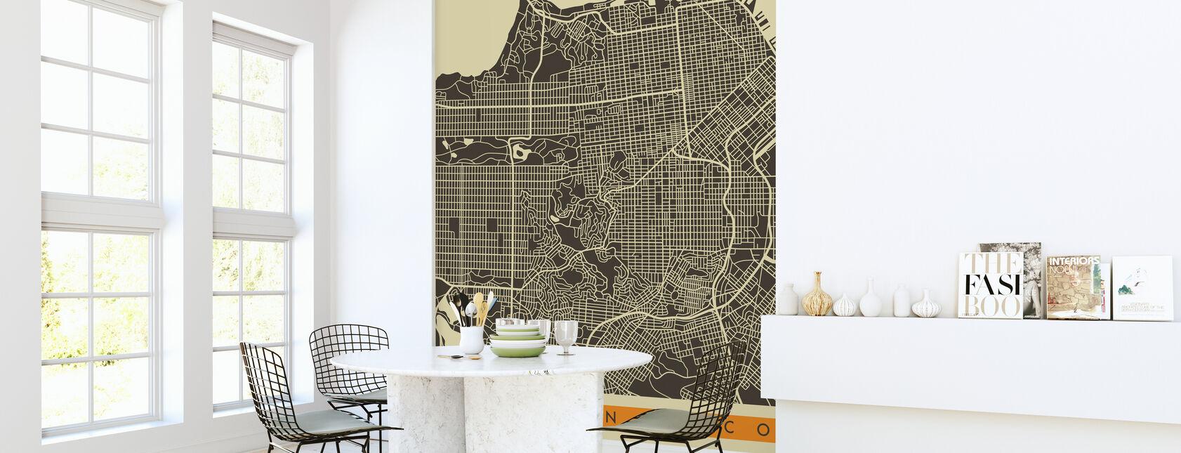Stadsplan - San Francisco - Behang - Keuken