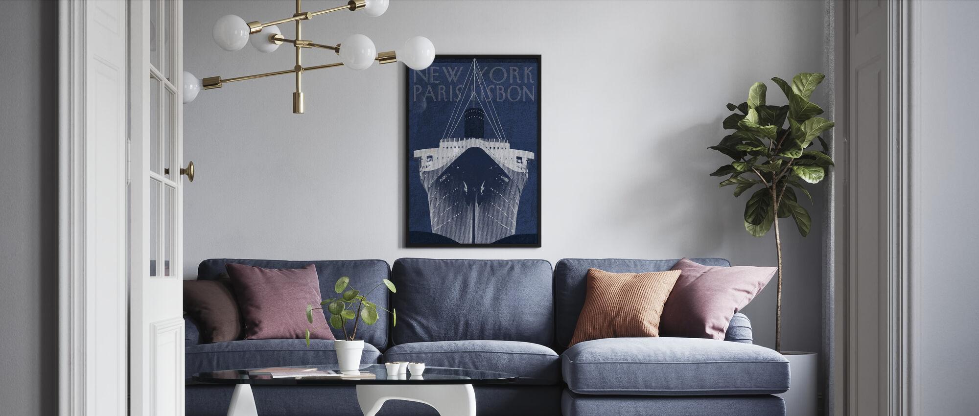 Passage Atlantique Blueprint - Framed print - Living Room
