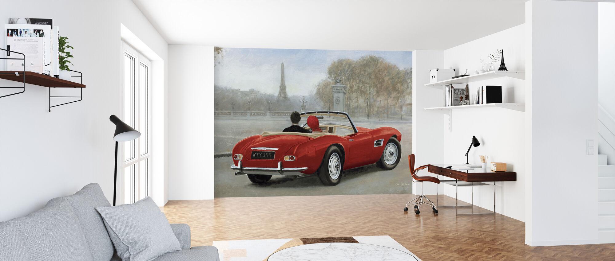 A ride in Paris III Red Car - Wallpaper - Office
