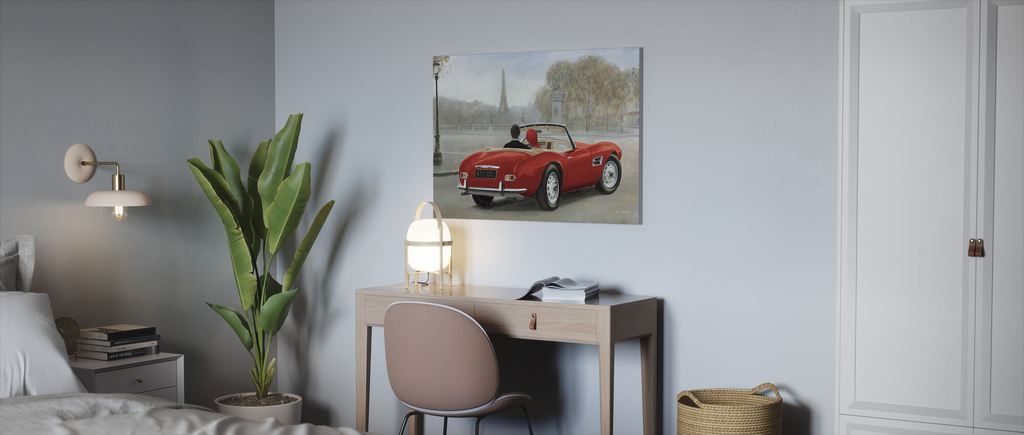 A ride in Paris III Red Car - Canvas print - Office