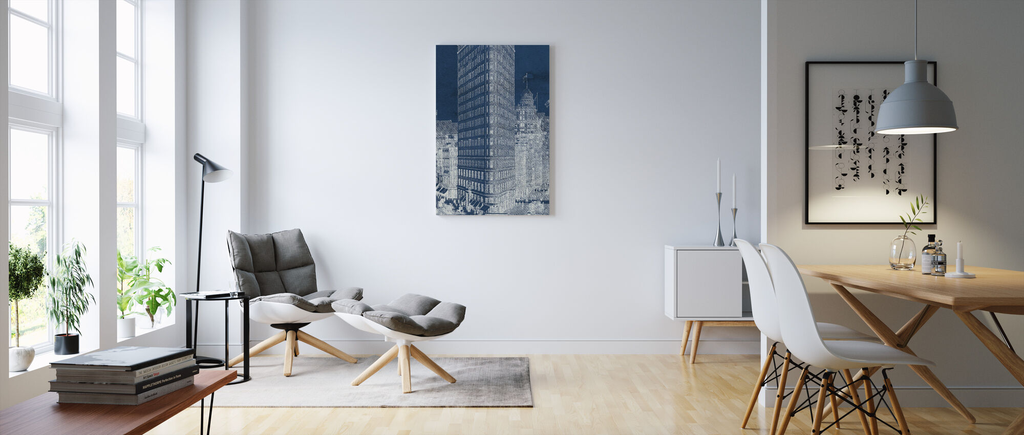 Flat Iron 1909 Blueprint Panel - Canvas print - Living Room