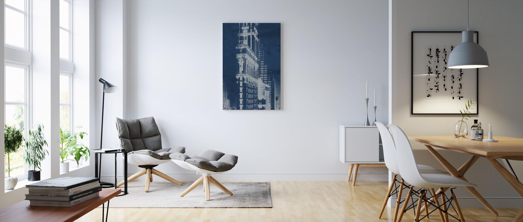 Times Square Postcard Blueprint Panel - Canvas print - Living Room