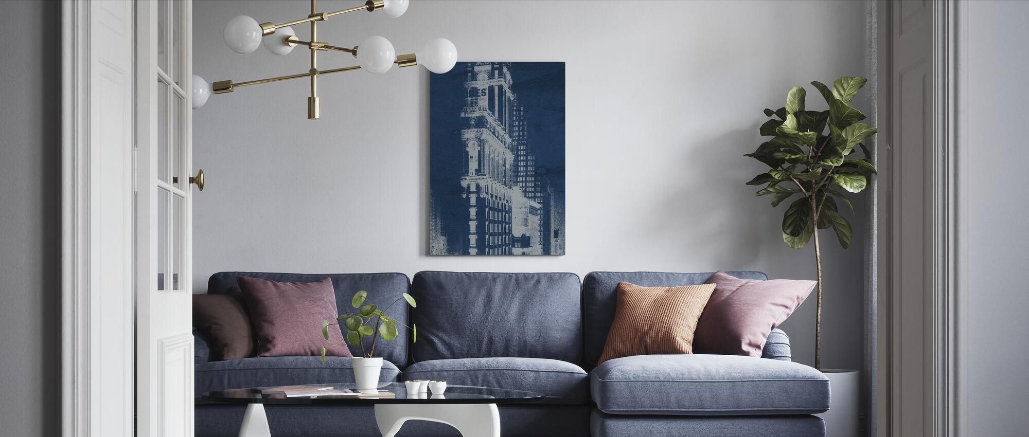 Times Square Prentkaart Blauwdruk Panel - Canvas print - Woonkamer