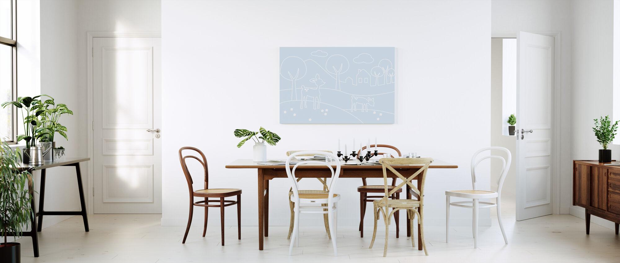 Hjort världen Lines - Ljusblå - Canvastavla - Kök