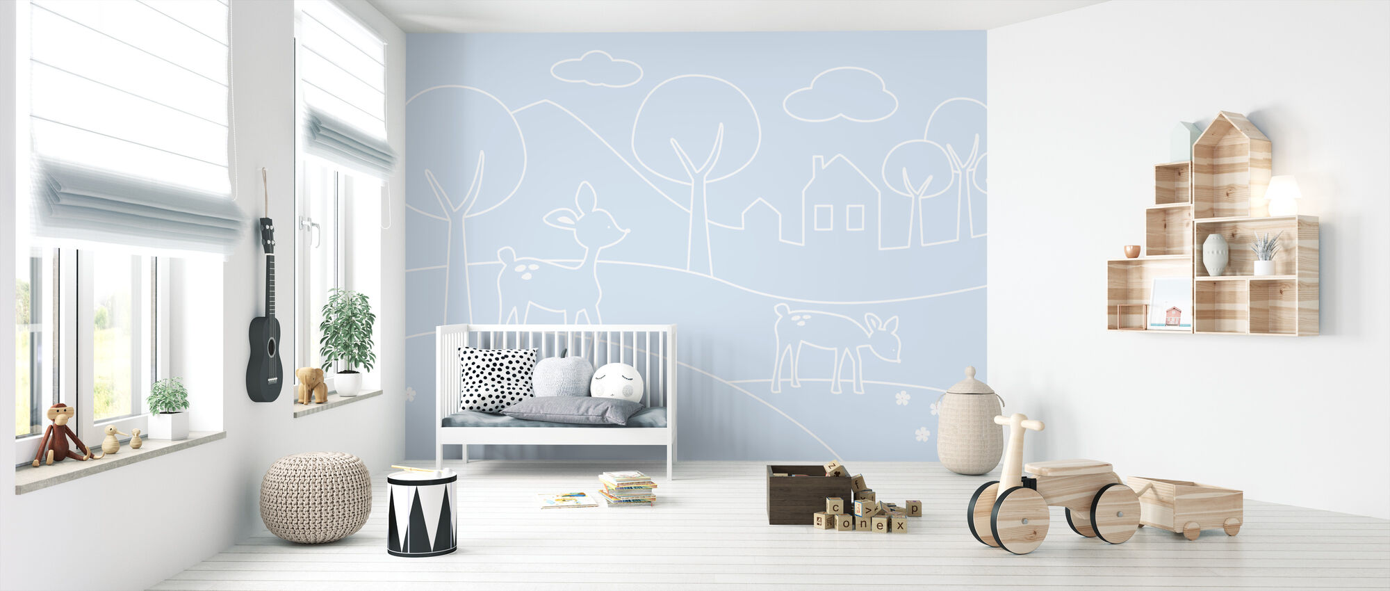 Deer World Lines - Light Blue - Wallpaper - Nursery