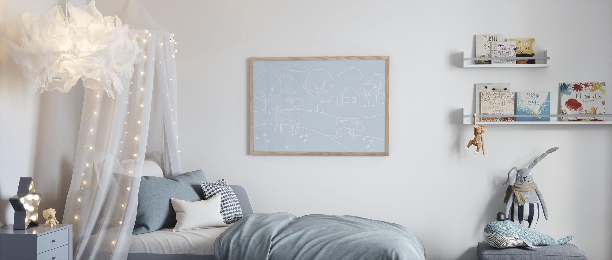 Deer World Lines - Light Blue - Framed print - Kids Room