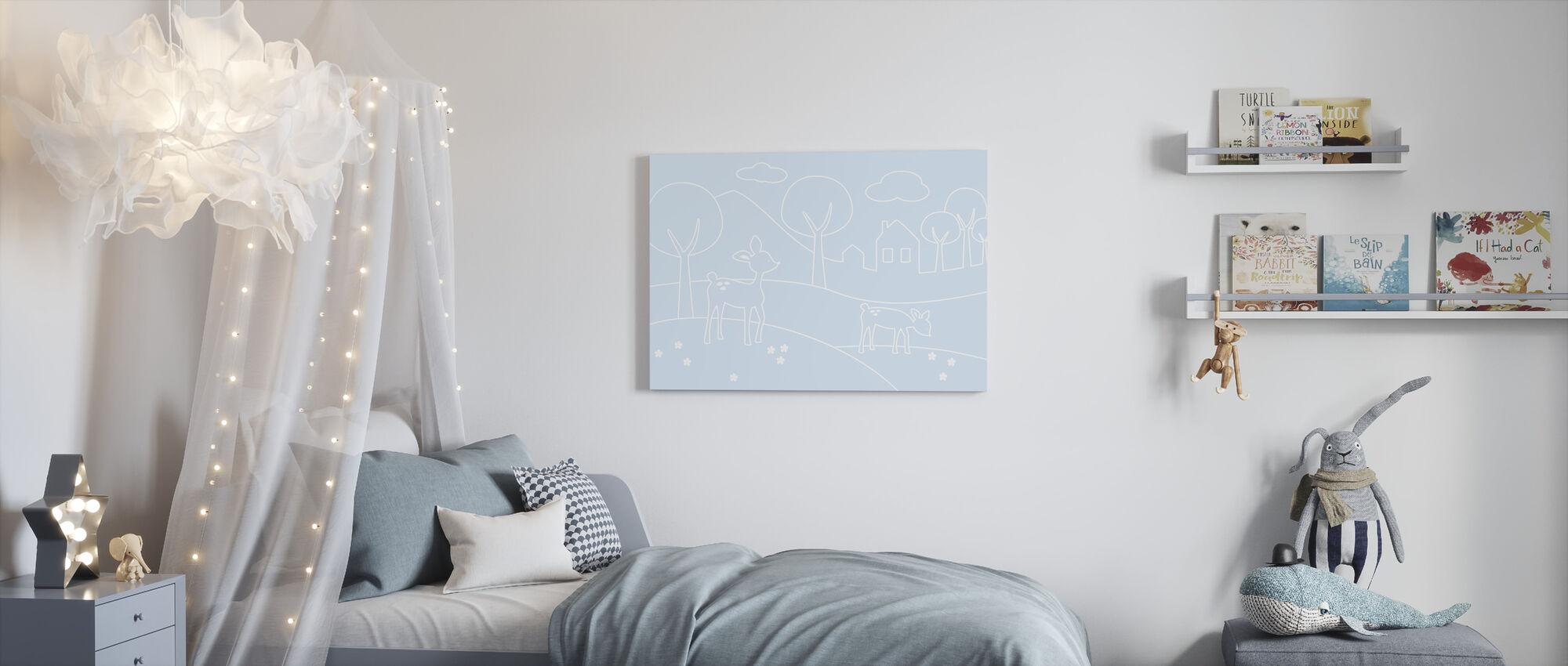 Herten wereld lijnen - lichtblauw - Canvas print - Kinderkamer