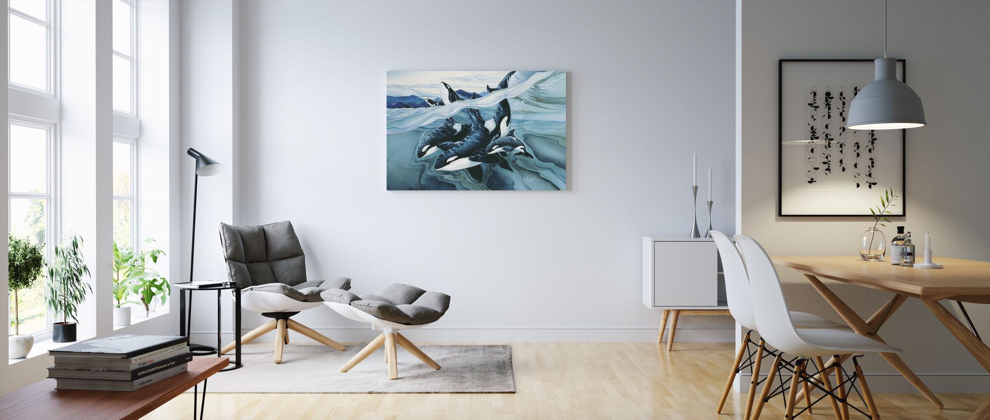 Blue Orca -perheet - Canvastaulu - Olohuone