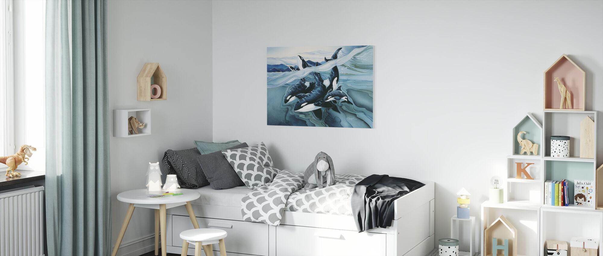 Blå Orca familier - Lerretsbilde - Barnerom