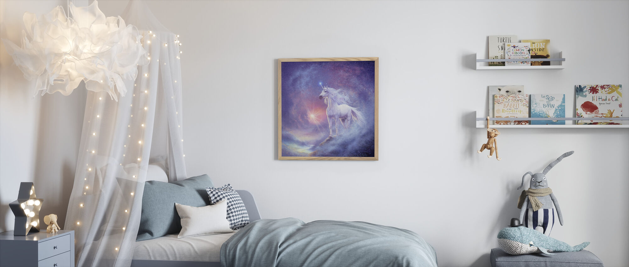 Astrale Eenhoorn - Ingelijste print - Kinderkamer