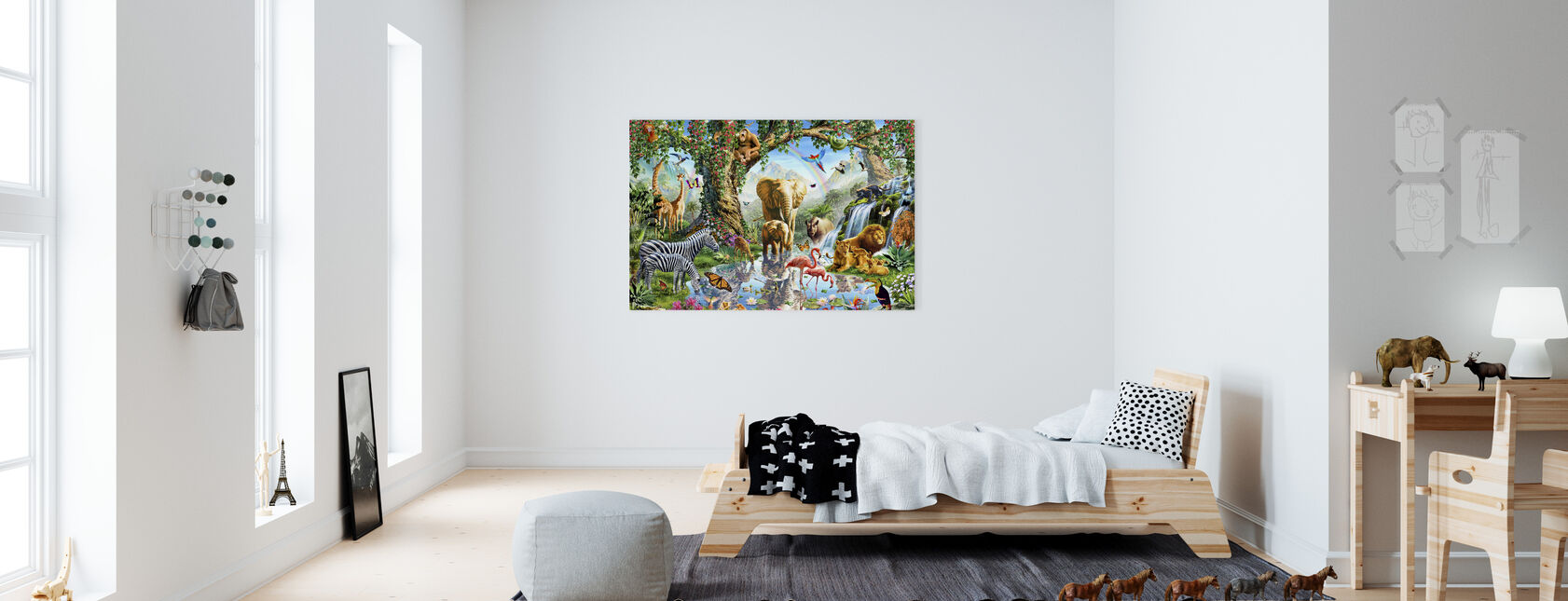 Jungle Lake met wilde dieren - Canvas print - Kinderkamer