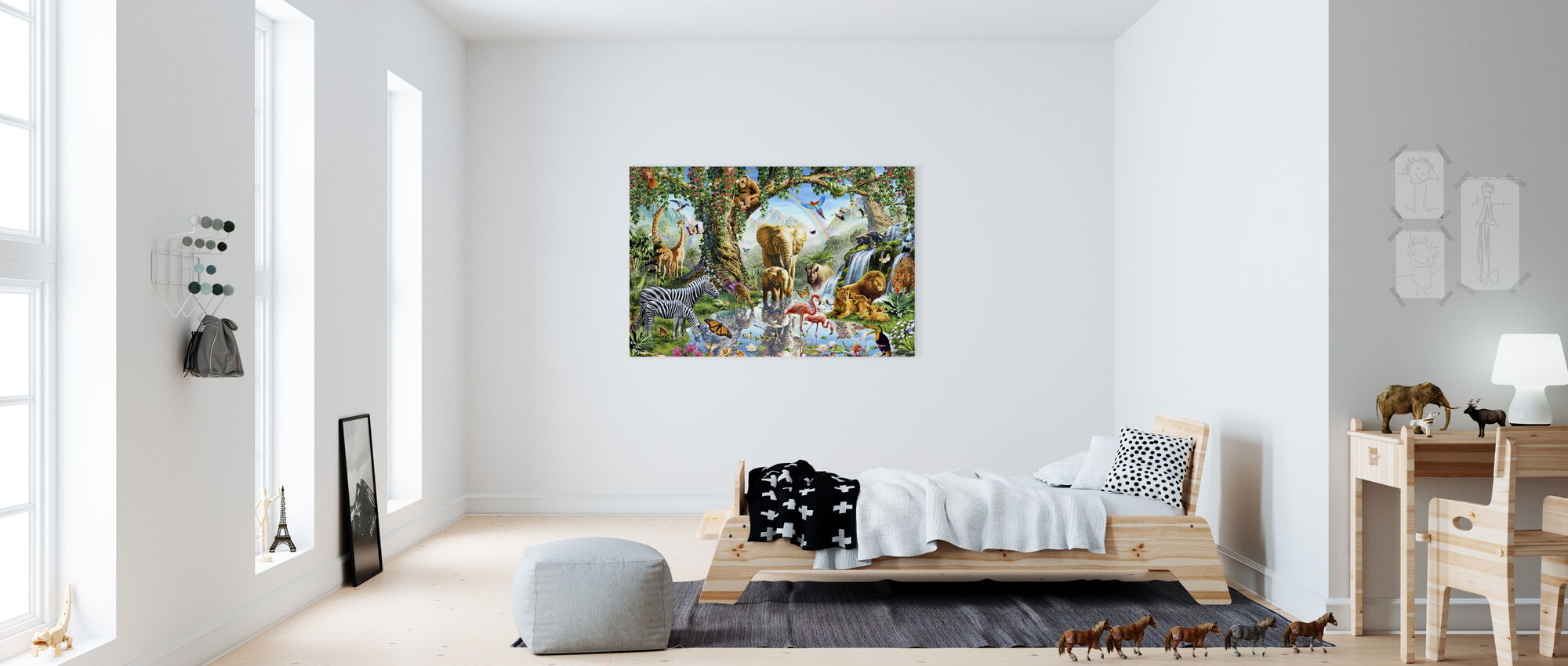 Jungle Lake with wild Animals - Canvas print - Kids Room