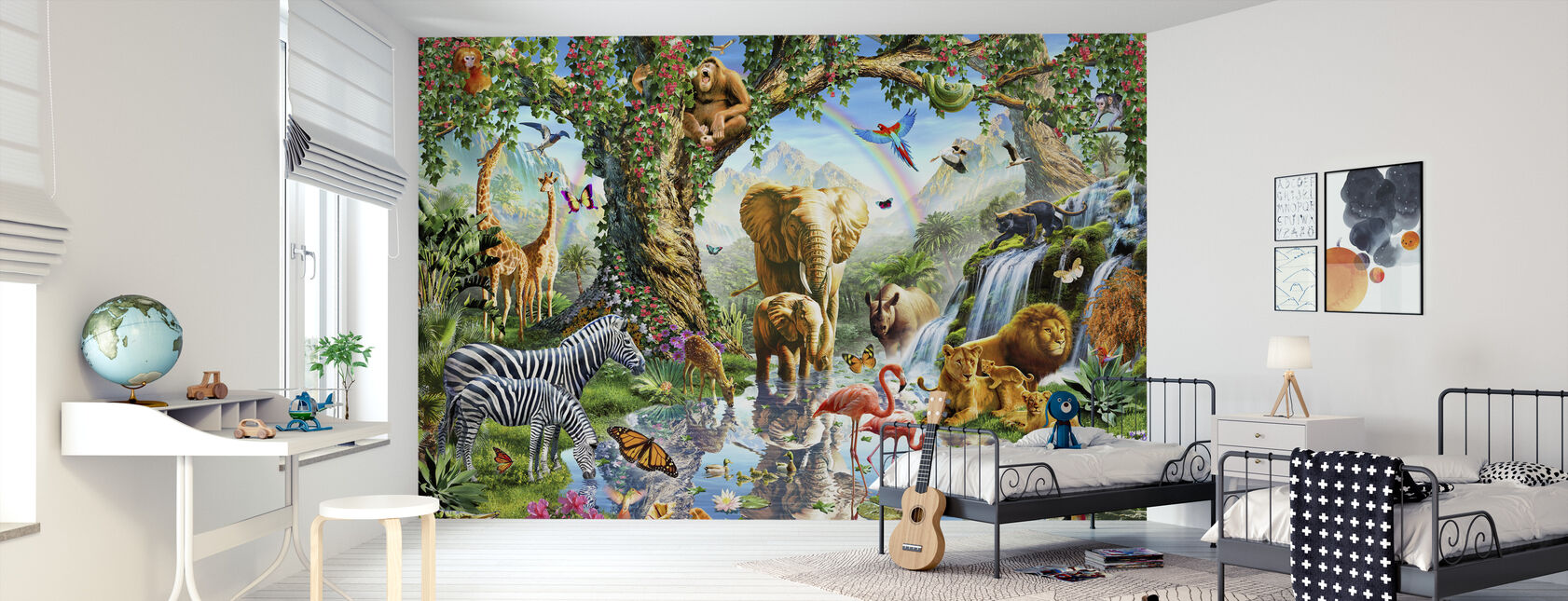 Jungle Lake met wilde dieren - Behang - Kinderkamer