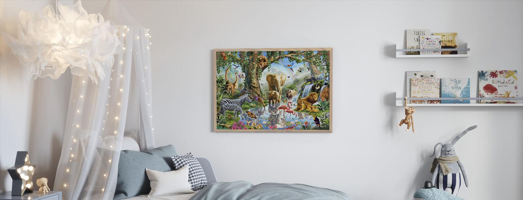 Jungle Lake met wilde dieren - Ingelijste print - Kinderkamer