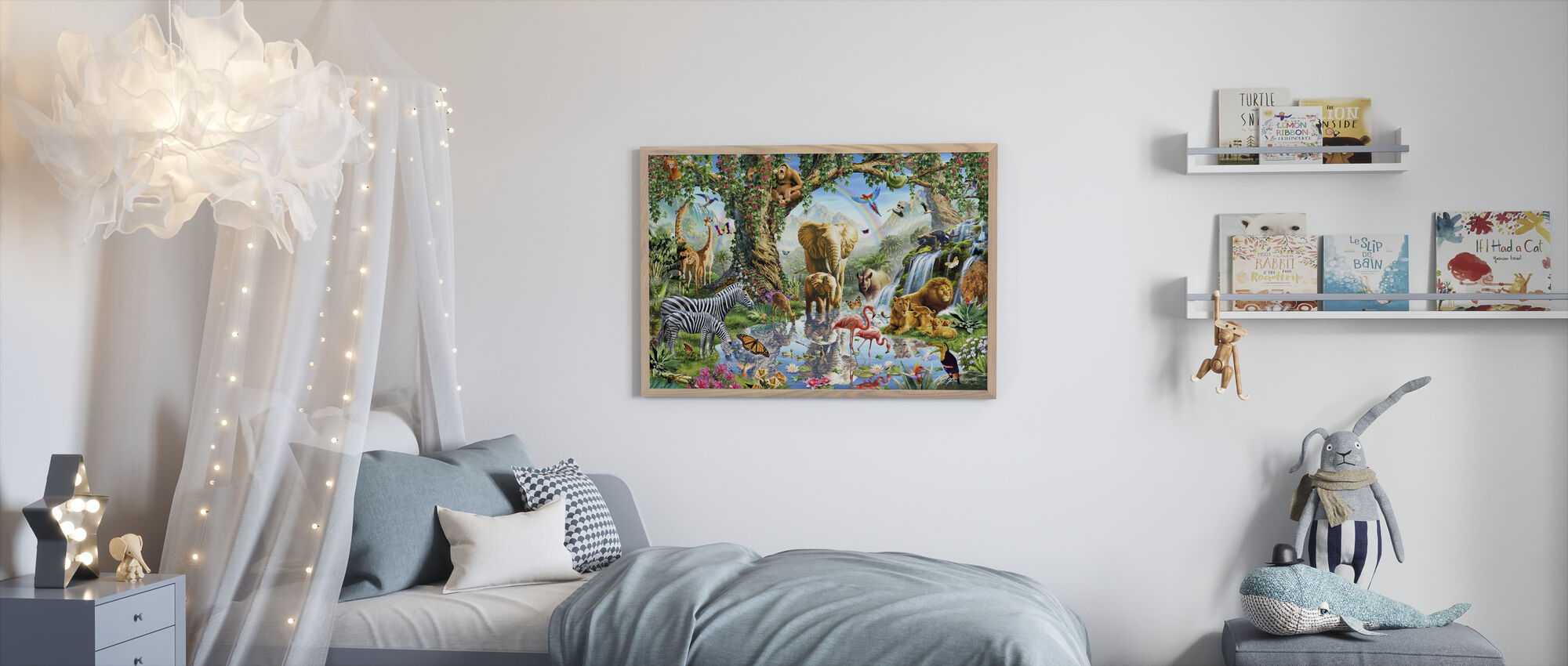 Jungle Lake with wild Animals - Framed print - Kids Room