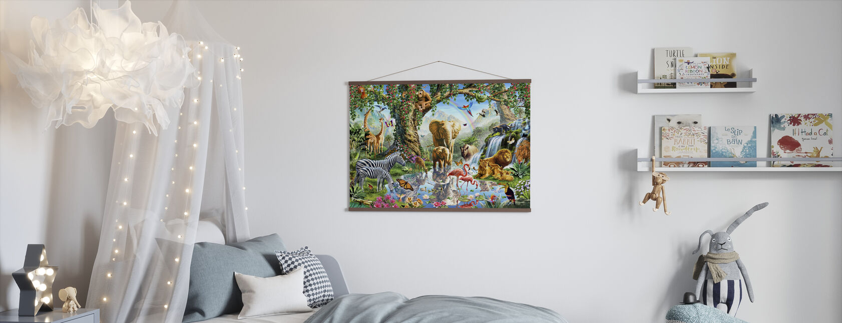 Jungle Lake med ville dyr - Plakat - Barnerom