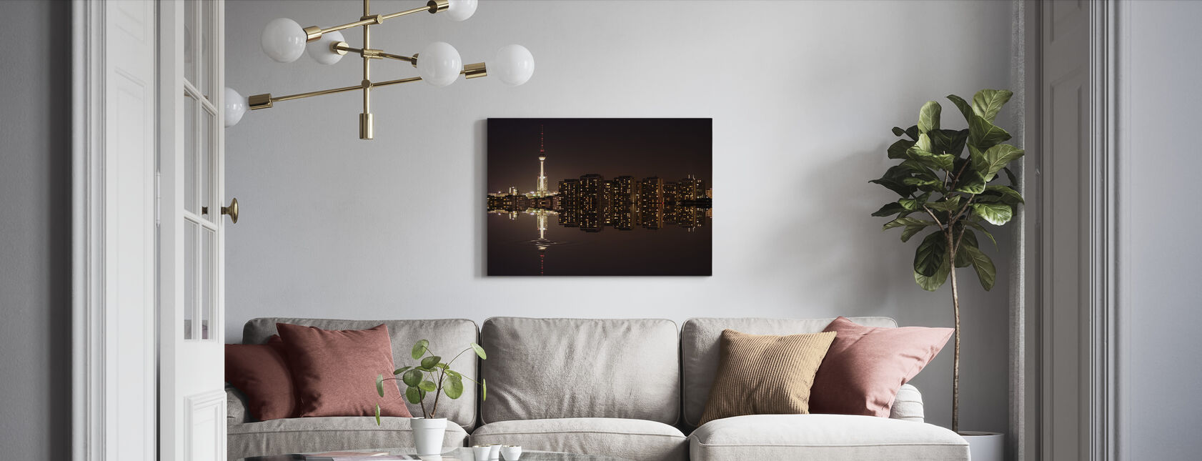 Berlin Panoramic View and Water - Canvas print - Living Room
