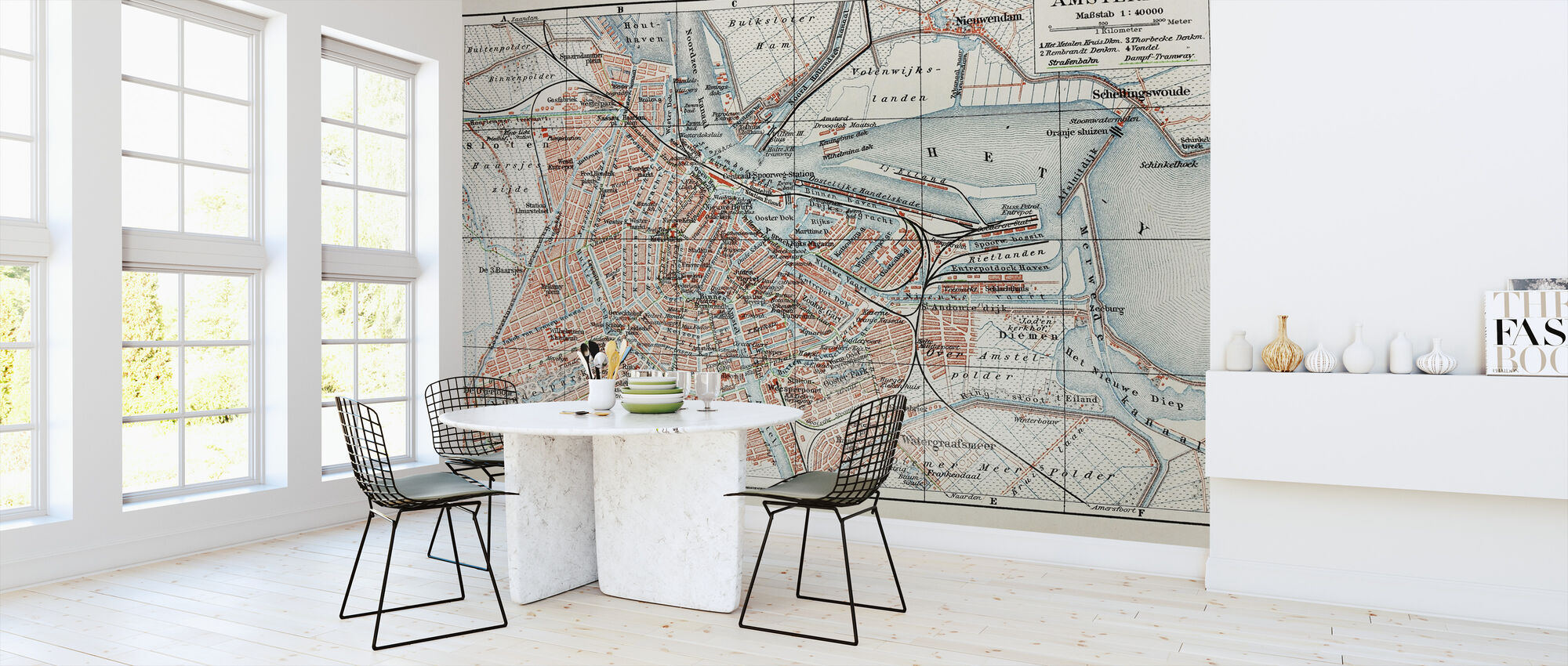 19th Century Old Map of Amsterdam City - Wallpaper - Kitchen