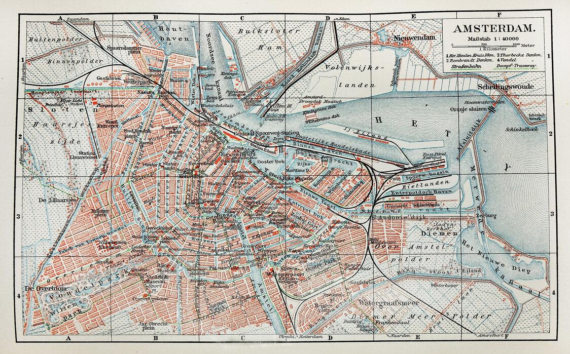 19th Century Old Map Of Amsterdam City Innred Med Fototapet
