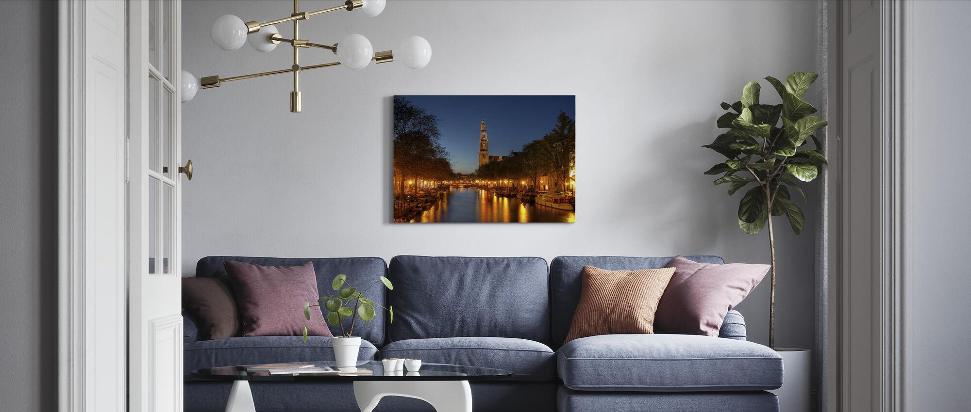 Prinsengracht Canal in Amsterdam - Billede på lærred - Stue
