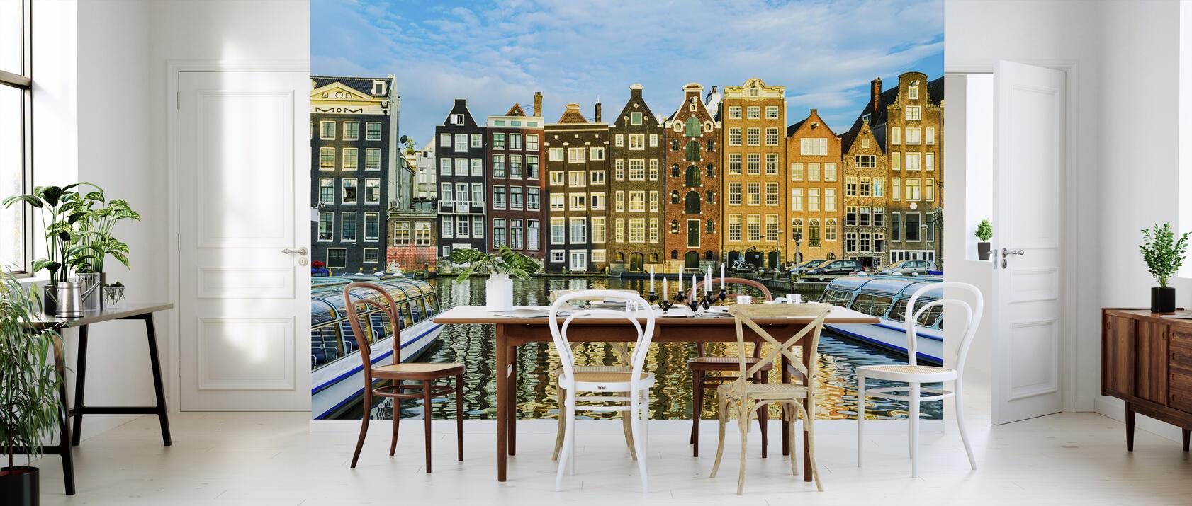 traditional houses of amsterdam netherlands fototapete. Black Bedroom Furniture Sets. Home Design Ideas
