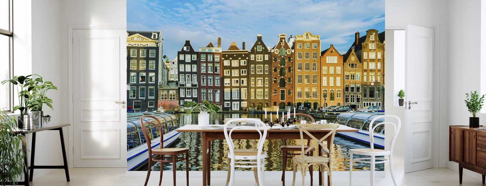 Traditionele Huizen van Amsterdam, Nederland - Behang - Keuken