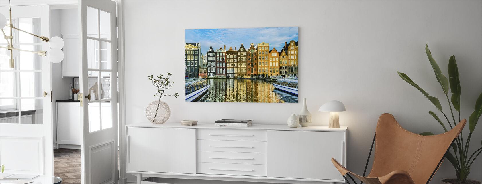 Traditionele Huizen van Amsterdam, Nederland - Canvas print - Woonkamer