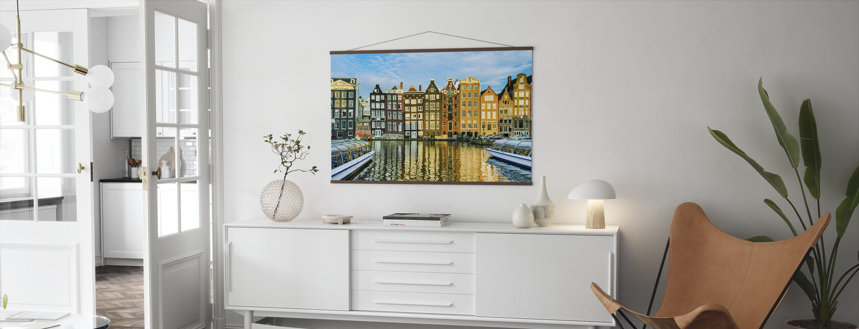Tradisjonelle hus i Amsterdam, Nederland - Plakat - Stue