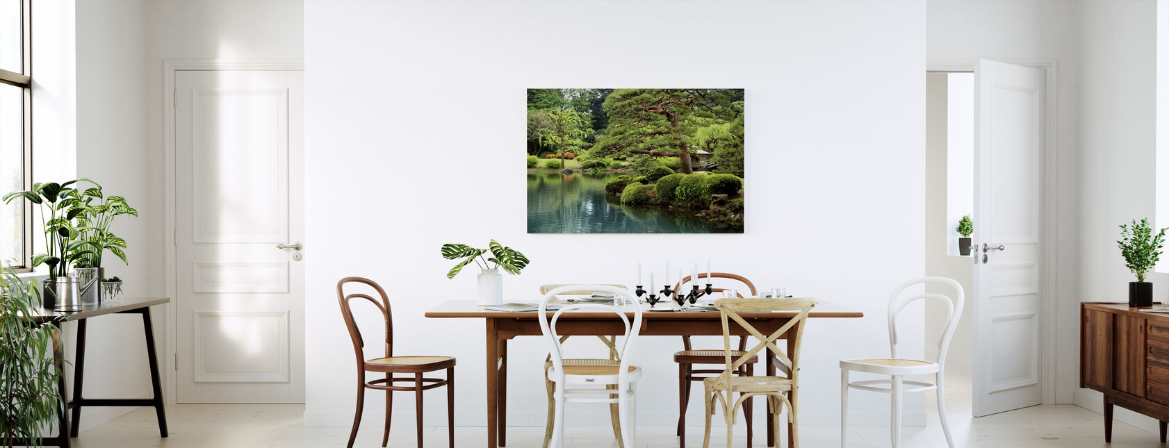 Calm Zen Lake and Bonsai Trees in Tokyo Garden - Canvas print - Kitchen