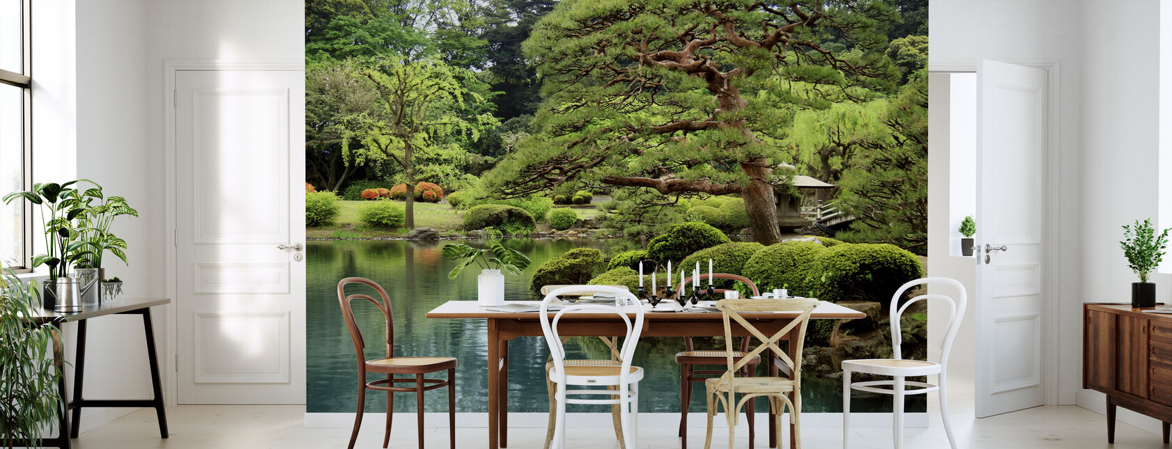 Kalm Zen Lake en Bonsai bomen in Tokio Garden - Behang - Keuken