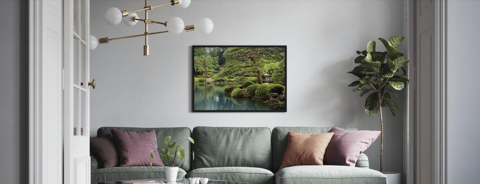Calm Zen Lake and Bonsai Trees in Tokyo Garden - Framed print - Living Room