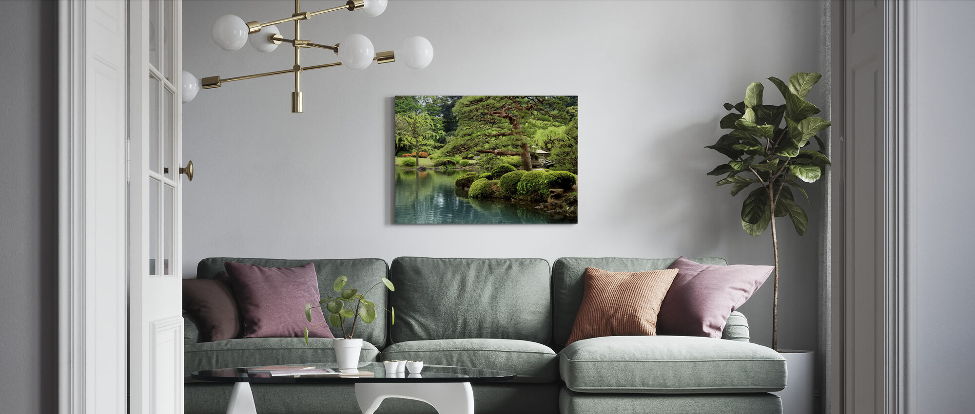 Calm Zen Lake and Bonsai Trees in Tokyo Garden - Canvas print - Living Room