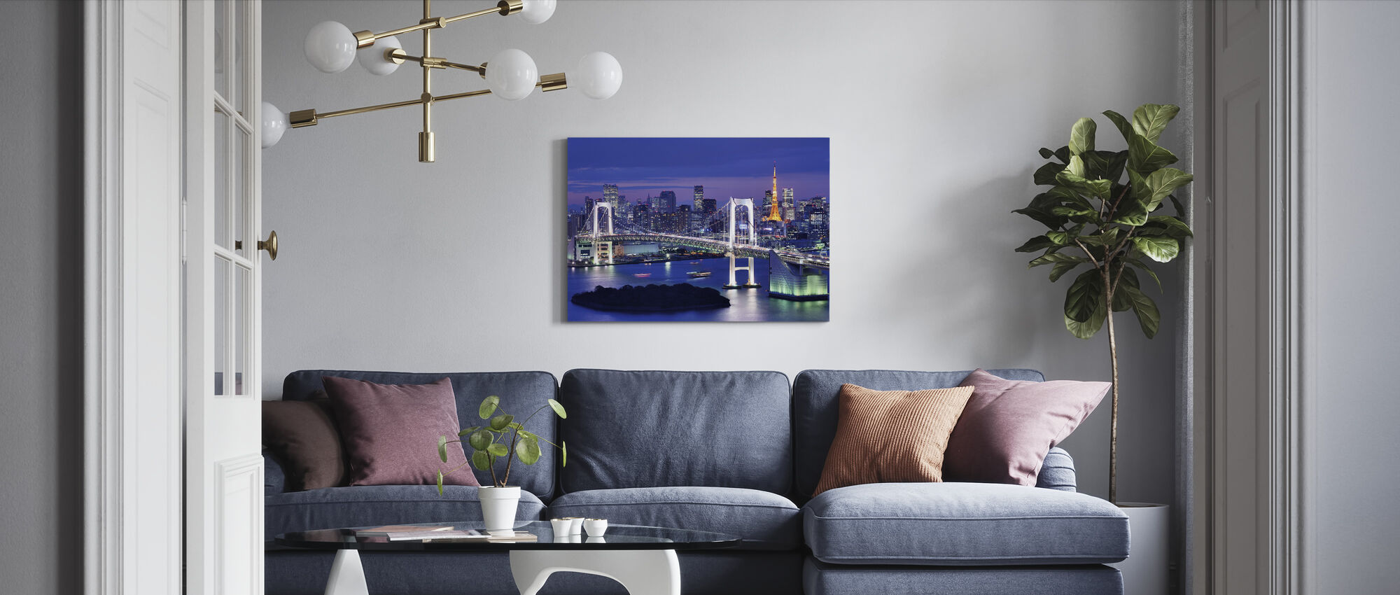 Rainbow Bridge and Tokyo Tower - Canvas print - Living Room
