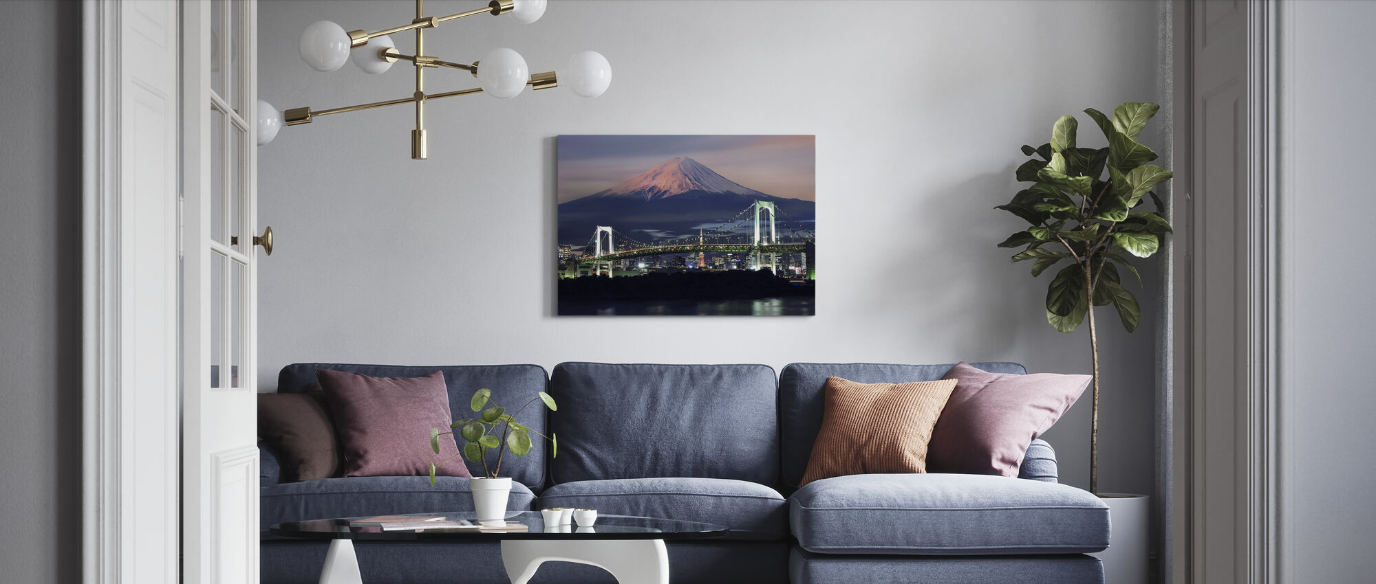 Rainbow Bridge with Mt Fuji - Canvas print - Living Room