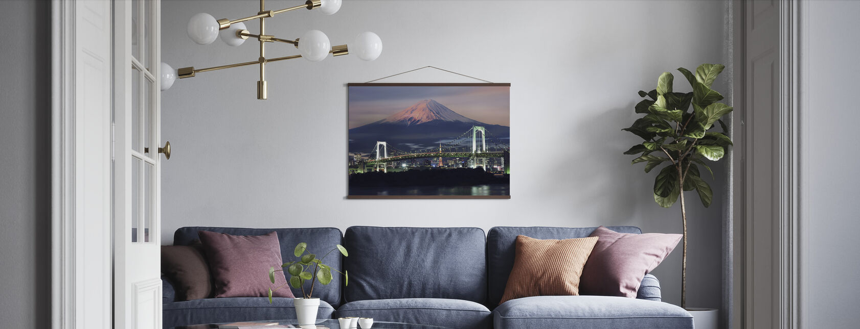 Rainbow Bridge with Mt Fuji - Poster - Living Room