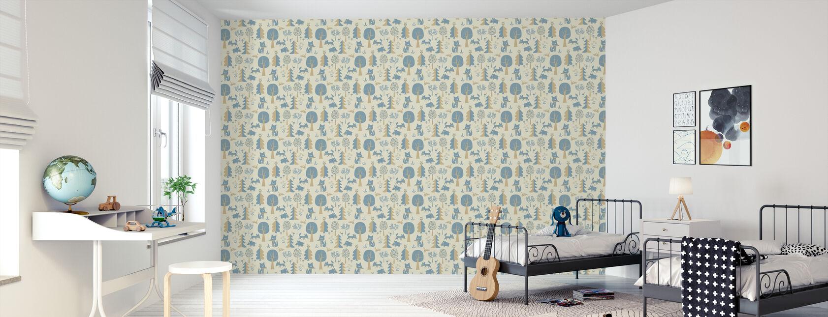 Forest - Blue - Wallpaper - Kids Room