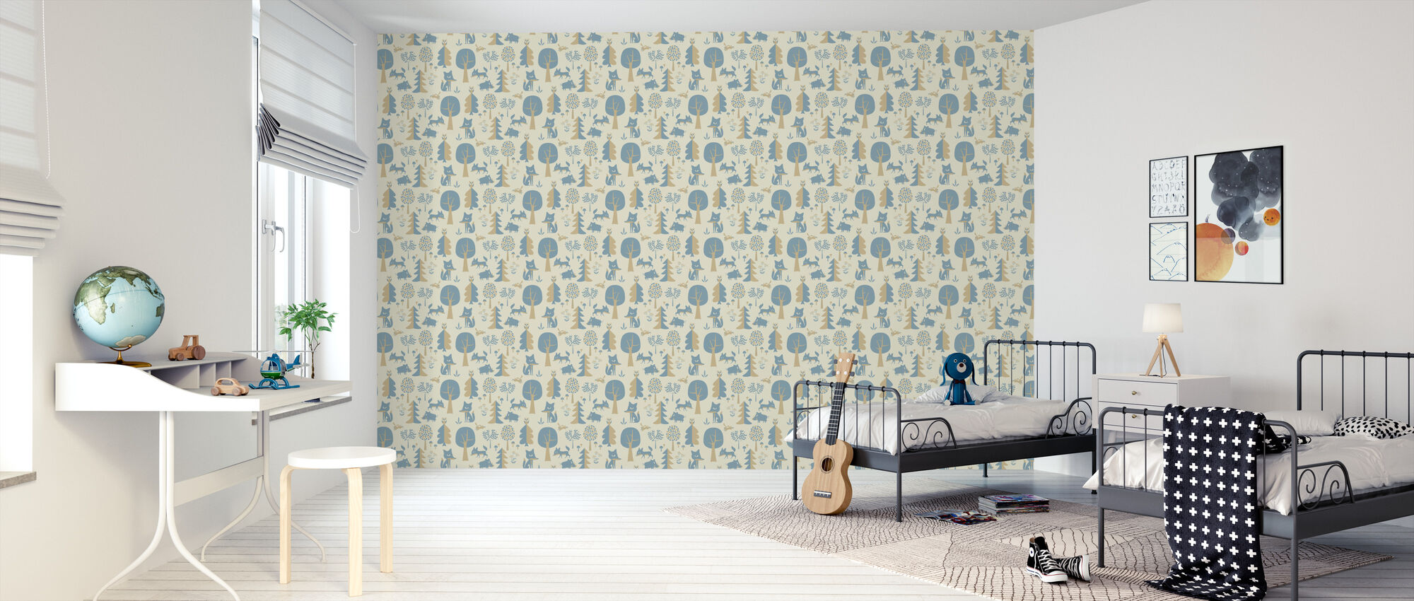 Forest - Blue - Wallpaper - Kids Room