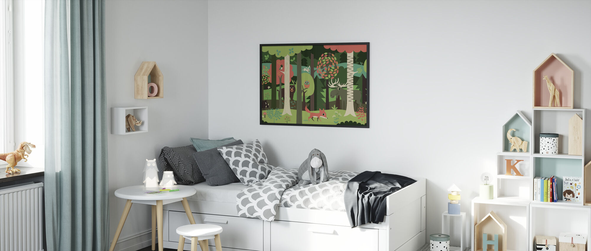 In the Forest - Green - Framed print - Kids Room