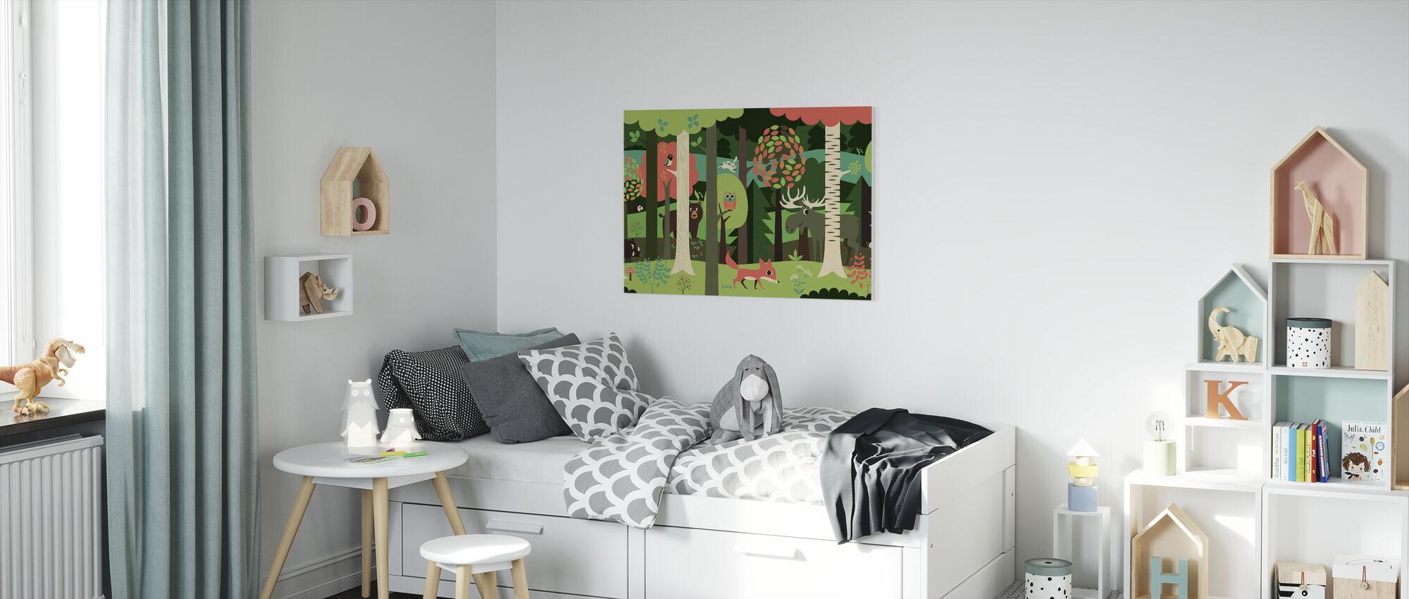 In het bos - Groen - Canvas print - Kinderkamer