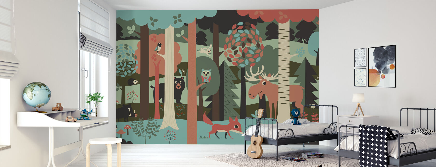 In the Forest - Turquoise - Wallpaper - Kids Room