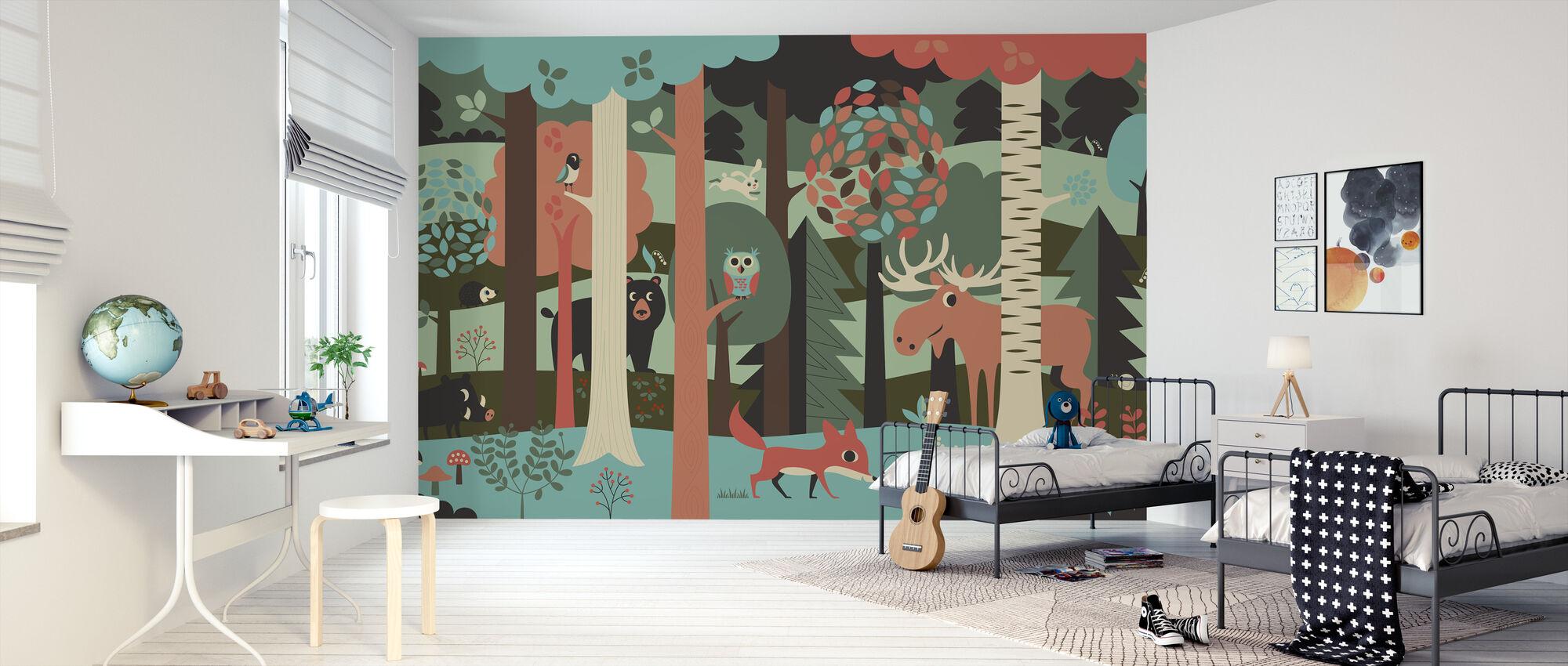 In het bos - Turkoois - Behang - Kinderkamer