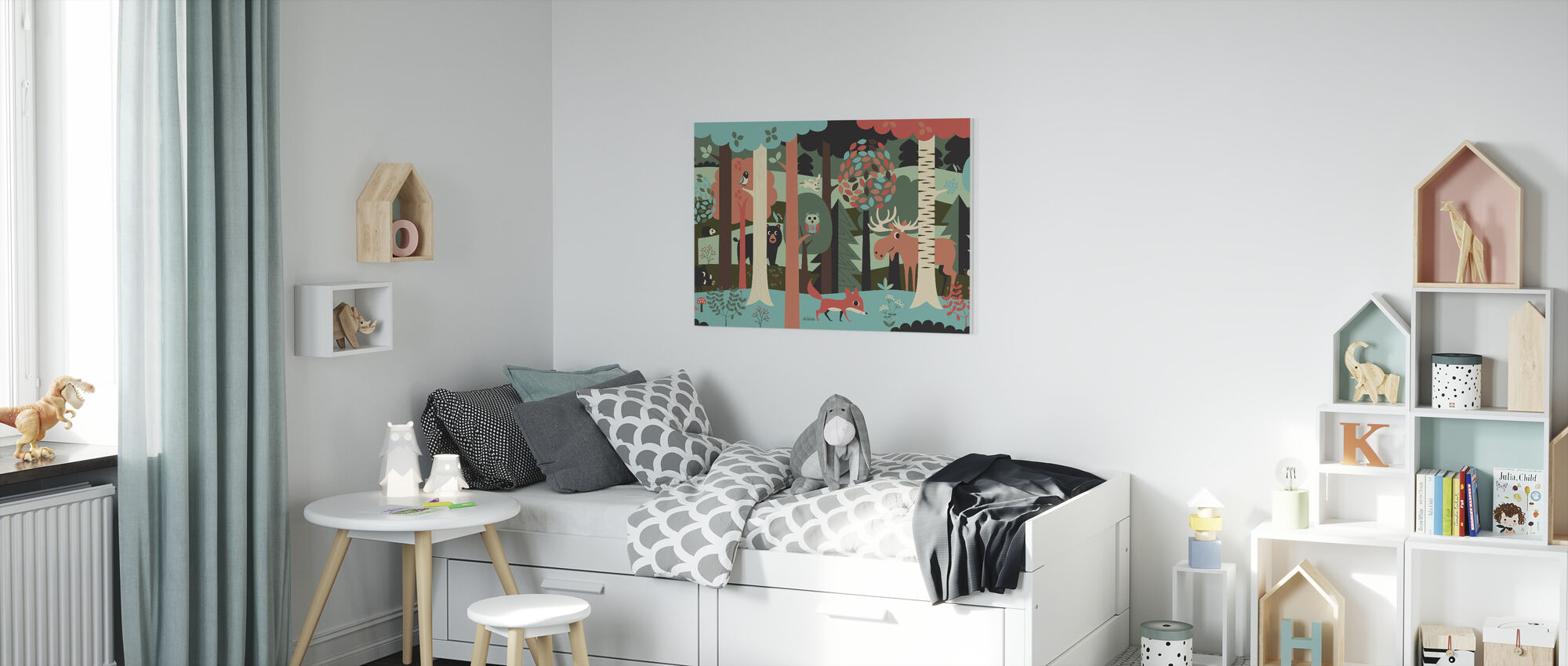In the Forest - Turquoise - Canvas print - Kids Room