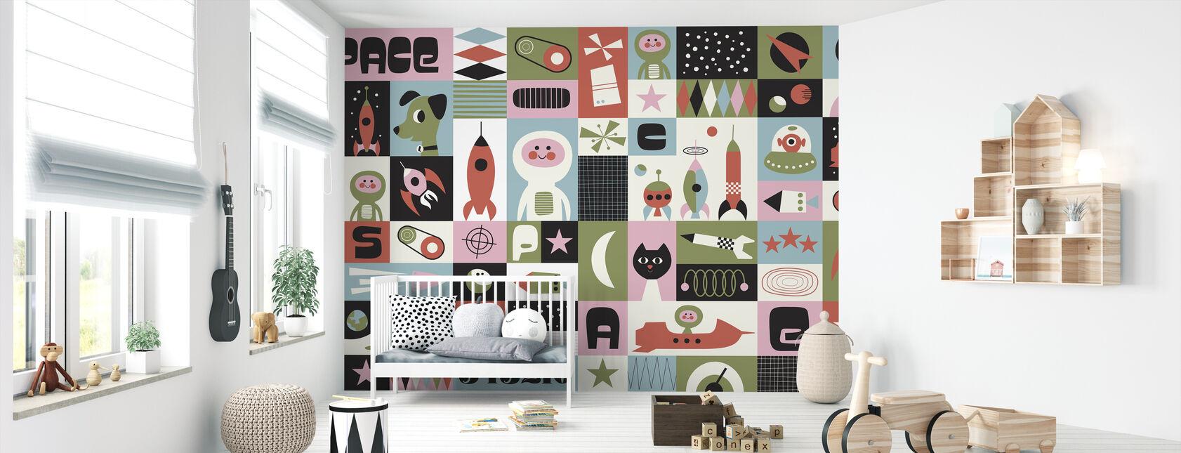 Space - Green - Wallpaper - Nursery